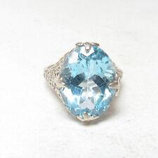 Estate 14K White Gold 12.00 Ct Natural Oval Baby Swiss Blue Topaz Filigree Ring
