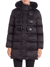 BURBERRY BRIT ALTBERRY Fox Trimmed Goose Down Toggle Front Quilted Coat in BLACK