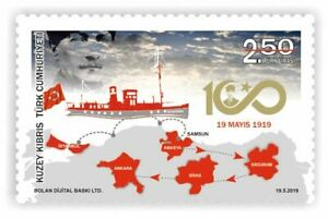 TURKISH CYPRUS  2019 -  UNMOUNTED MINT 19TH MAY ANNIVERSARY STAMP
