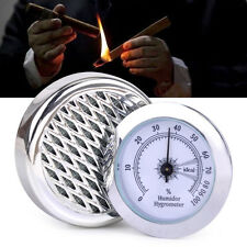 Silver Round Smoking Tobacco Hygrometer with Humidifier Cigar Humidor