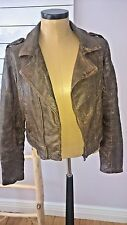 "Guess FlexJeans Ladies brown ""Briarwood wash"" coated biker jacket size L $198."
