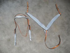 NEW POWDER BLUE H/S LEATHER WESTERN BRIDLE / HEADSTALL W/ MATCHING BREASTCOLLAR