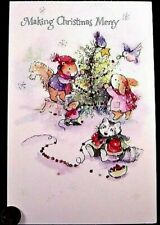 Christmas Squirrel Rabbit Raccoon Mouse Glittered Large Christmas Greeting Card