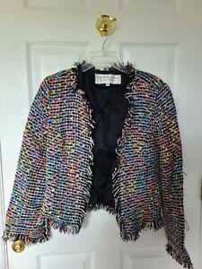 TRINA TURK Sz 8 Multicolor Rainbow Tweed Boucle Fringe Open Front Blazer Jacket