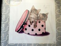 NIP Kitten Twins In Polka Dotted Hat Box Counted Cross Stitch Thea Gouverneur
