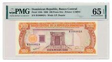 DOMINICAN REPUBLIC banknote 100 Pesos Oro 1990 PMG MS 65 EPQ Gem Uncirculated