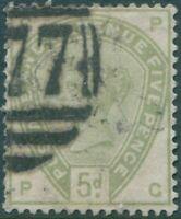Great Britain 1883 SG192 5d dull green QV GPPG FU