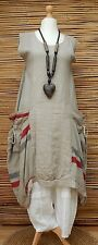 LAGENLOOK*LINEN BEAUTIFUL QUIRKY LARGE POCKETS LONG DRESS*BEIGE* Size 48-50