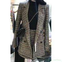 Warm Grid Womens Lapel Office Slim Blazer A-line Business Vogue Suits Coat+Skirt