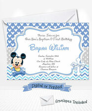 PRINTED Baby Mickey Birthday Invitations Mickey Baptism Invitations Christening