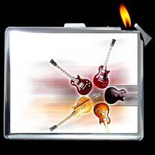 Guitar Cigarette Money Card Case Box Lighter g1177