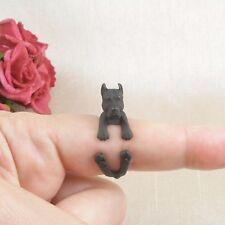 Matt Black Plated Cute American Pitbull Dog Ring Size N - Adjustable