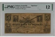 Indiana Evansville Spurious $5 1840s State Bank Of Indiana PMG F12 IN1S60. Rare