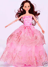 Handwork soft Princess Party Dress/Evening Clothes/Gown For Barbie Doll  1033