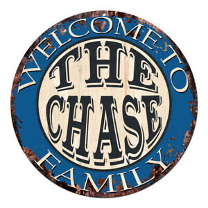 CPH-0606 Welcome to THE CHASE FAMILY Chic Tin Sign Man Cave Decor Gift Ideas