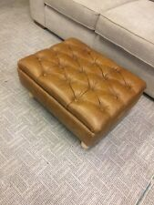 M&S Highland Button Storage Footstool in Tan/Tobacco Leather RRP £529