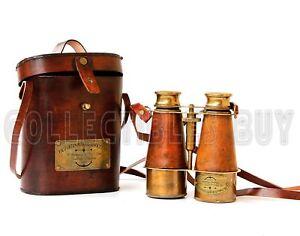 Victorian Marine Brass Leather Binocular Sailor Instrument London 1915 Orange