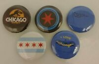 """City Of Chicago Flag Hot Dog 1"""" Pinback Button Lot of 5 Pins Cubs Sox Bears Punk"""