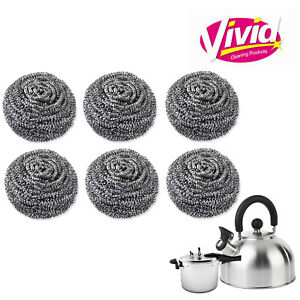 Stainless Steel Scourers Kitchen Washing Cleaning Wire metal  Pads Pan Stains UK