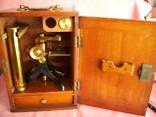 ANTIQUE MONOCULAR BRASS MICROSCOPE W/FITTED CABINET & SLIDES (SEE DISC)