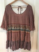 UMGEE Womens Sz S Printed Boho Free Spirit Baby Doll Peasant Dress