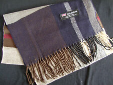 100% Cashmere Winter Scarf Scarve Scotland Warm Plaid Navy Blue Beige Shawl NEW