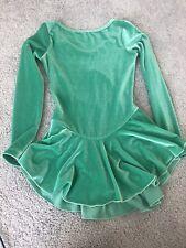 GK Elite Girls Ice Skating Dress Size Large Green Velour 14-16