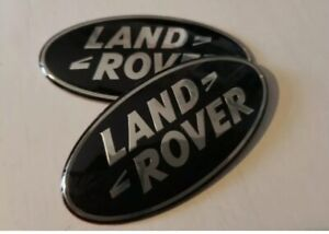 2 X Black Land Rover Badge Emblem Front Rear 86mm Grill Evoque Velar Sport Vouge