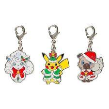 Pokemon Center Original Metal Charm Set Christmas 2017 Pikachu Vulpix Rockruff