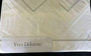 New Yves Delorme White King Sheet Set 4PC Gray Grey Piping 100% Cotton France