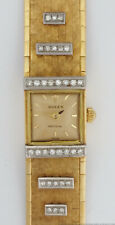 18k Gold Genuine Diamond Rolex Case Ladies Long Watch with Replaced Movement