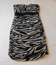 Charlotte Russe Juniors  Womens Black White Zebra Stripes Size XS Party Dress