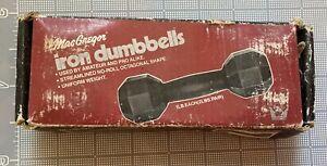Vintage Cast Iron Dumbells MacGregor 2 x 1lb set With original box VTG Weights