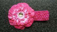 Baby Big Diamante Flower Headband Hot Pink