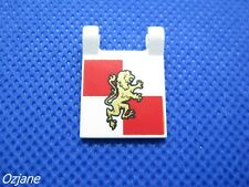 LEGO PART 2335PB063 FLAG 2 X 2 SQUARE WITH GOLD LION ON RED AND WHITE QUARTERS