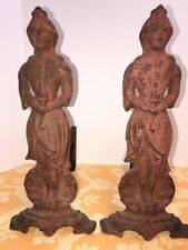 """Antique Cast Iron """"Lady Liberty"""" Figural Fireplace Andirons Fire Dogs"""