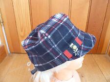 Monsoon Accessorize Navy Blue Check Rosso Bianco Lana Militare Baker Boy Hat Cap