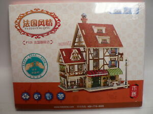 Woodcraft Construction Kit Cafe House Shop, 35 Pieces Free Post!