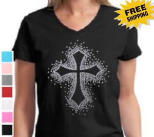 Religious Christian Rhinestone Cross Jesus Savior God Christ New Womens T Shirt