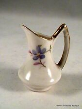 Beautiful White Floral Porcelain Miniature Dollhouse Pitcher With Gold Trim