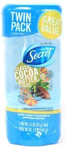 1 Twin Pack Secret Classic Cocoa Butter Scent Antiperspirant Deodorant 2.6 oz