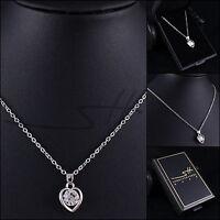 Geschenk Halskette Herz, Herzkette Damen, Silber, Swarovski® Kristalle, im Etui
