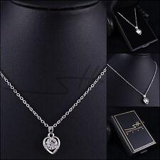 Herzkette Halskette *Edle Herzkette*, Weißgold pl., Swarovski Elements, +Etui