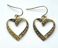 Lovely Gold Tone Embellished Textured Dangle Drop Heart Pierced Ear Earrings