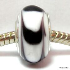 White with Black Loop Pattern Murano Glass European Bracelet Charm Bead