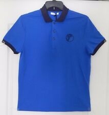 Versace Collection Blue Medusa Logo Short Sleeve Polo Shirt Men's Large $250 NEW