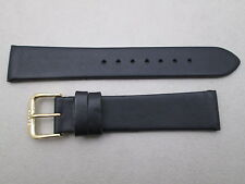18mm men's soft genuine leather watch band strap black color fits Movado