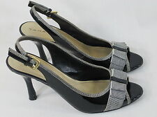 Tahari Diane Black Peep Toe Faux Leather Slingback Heels Size 8 M US EUC