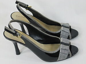 Tahari Diane Black Peep Toe Faux Leather Slingback Heels Size 8 M US EUC
