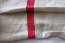 "LARGE BOLT ANTIQUE FRENCH CHANVRE LINEN RED STRIPE TORCHON FABRIC 7ft 10"" length"